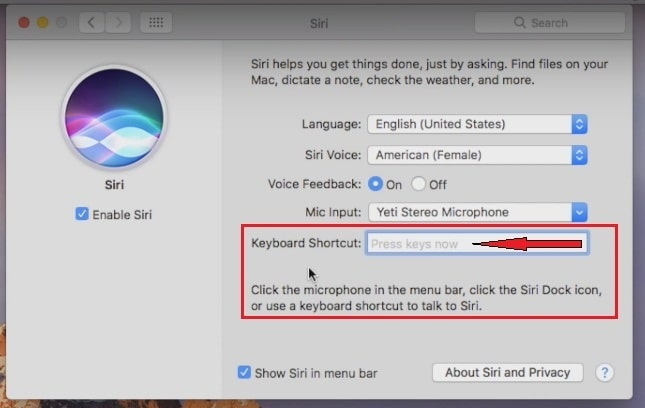 Enter a key into the Keyboard Shortcut filed