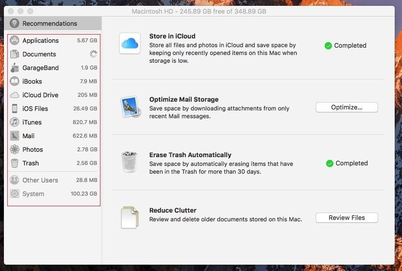 Optimized Storage macOS 10.12
