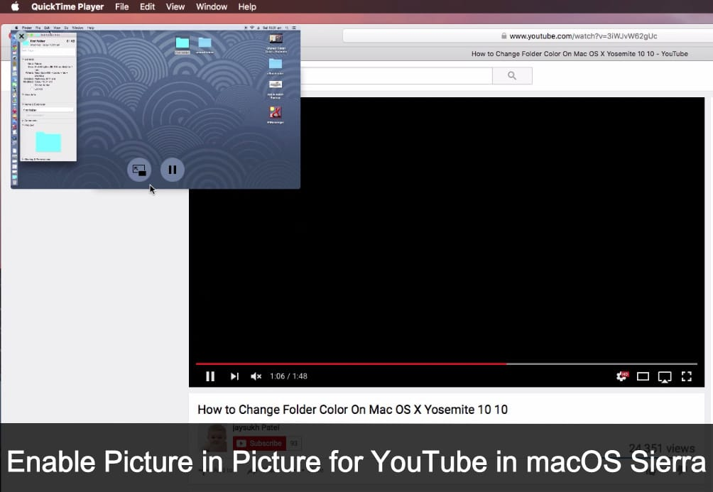 activate enable Picture in Picture for YouTube in macOS Sierra