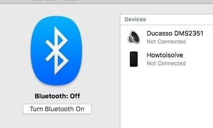 checked box Show Bluetooth in menu bar macOS 10.12