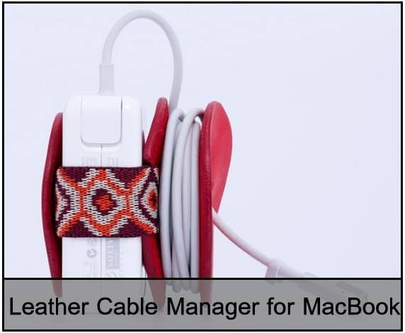 good Cable Organizer for MacBook by Leather Material