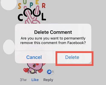 tap delete sticker comment confirmation Facebook post