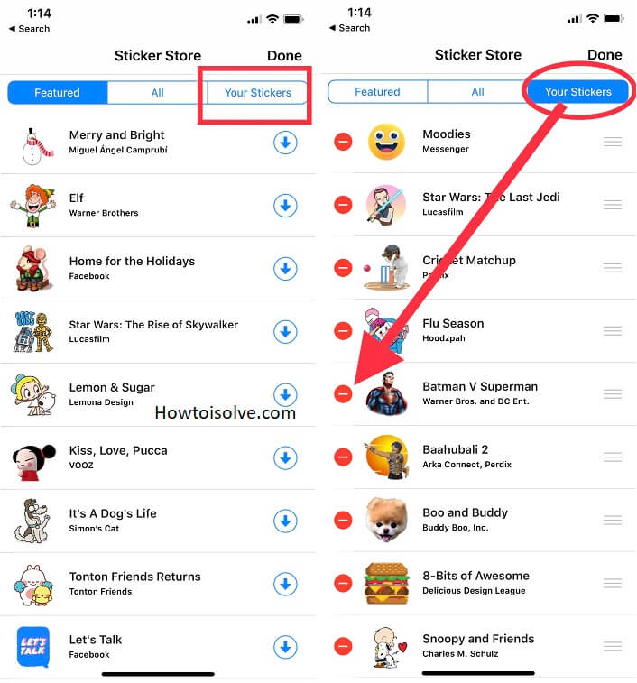 tap your stickers and find a sticker pack that you want to delete from fb messenger app ios