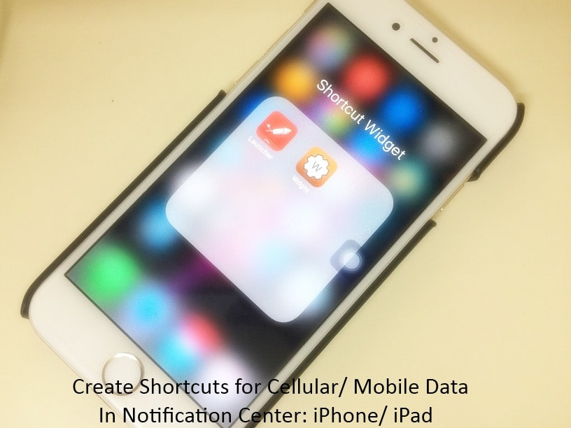 Mobile Data shortcut on iPhone with iOS 9, iOS 8, iOS 10
