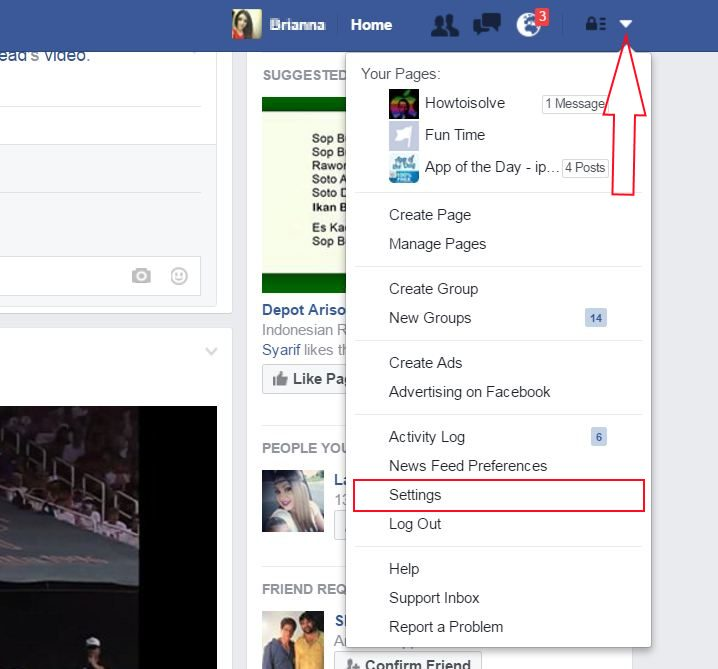 Facebook Setting option on Web