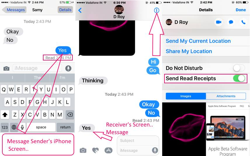 iMessage send Read recipients Turnoff from iPhone