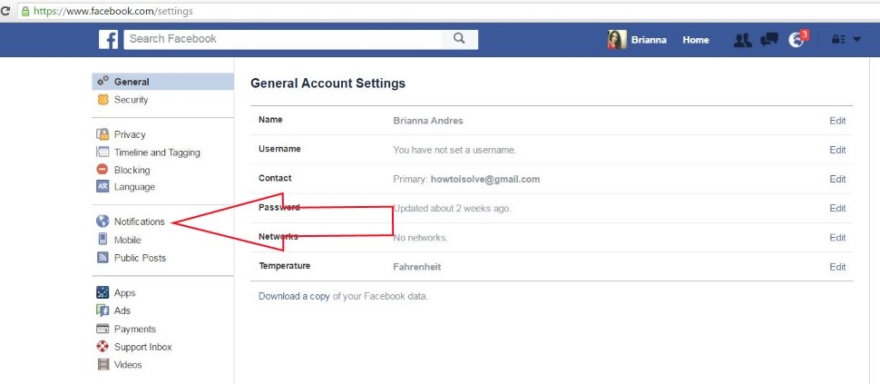 Facebook Notification Setting on Web
