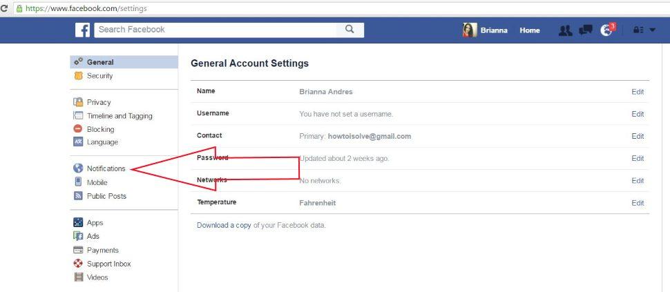 Facebook Notification Setting on Web