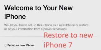 Choose new backup file for new iPhone 7