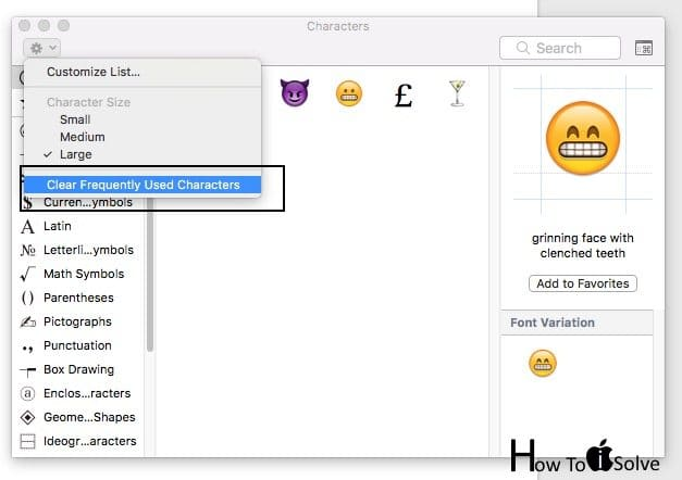 Clear all most Frequently used emoji on mac