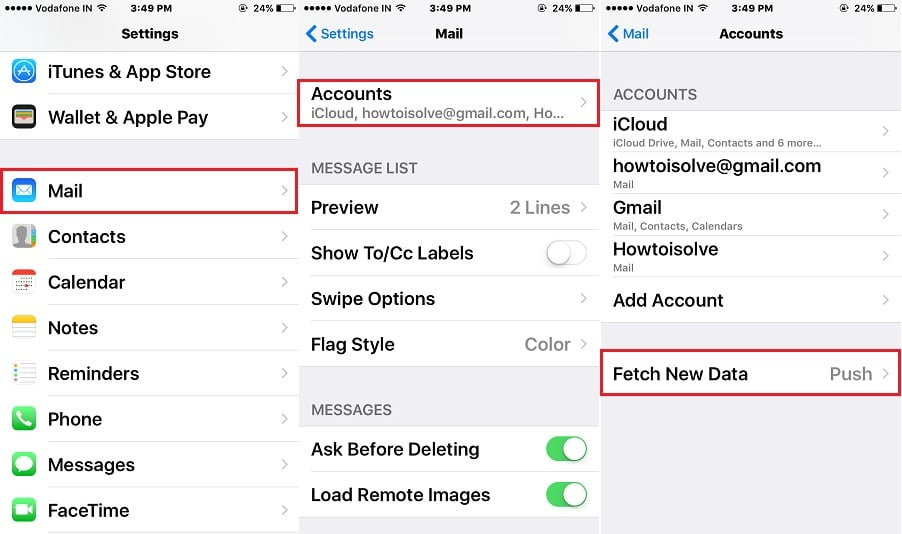 Mail app account setting in iPhone, iPad
