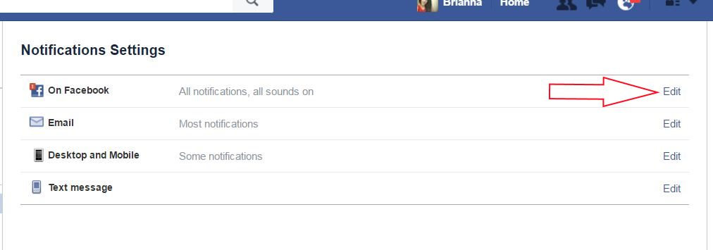 On Facebook option for notification