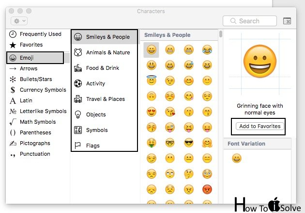 Add emoji in Favorites list on Emojis