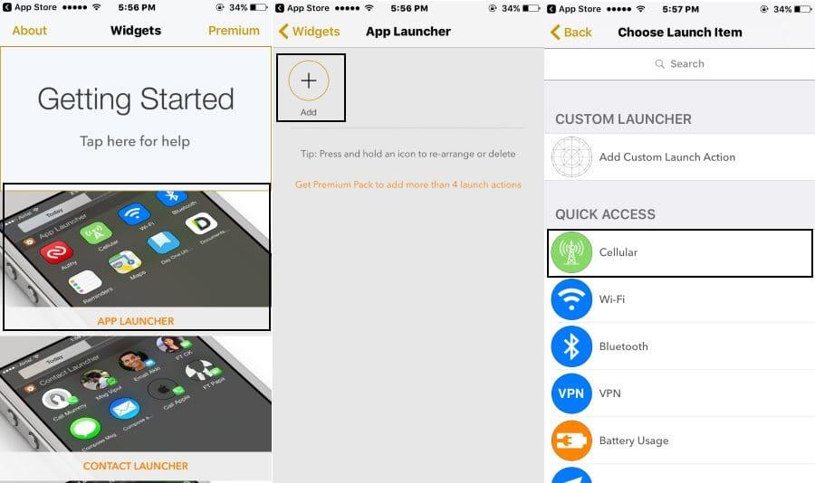 Add Cellular Shortcut using widgets