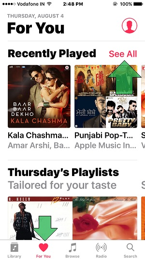 Music app layout in iPhone/ iPad