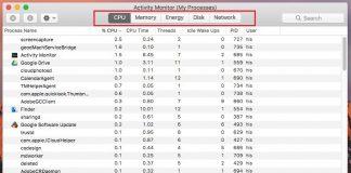 CPU pane in activity monitor app macOS sierra 10.12