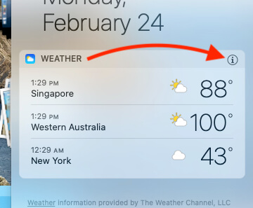 Add New City under Weather Widget on MacBook Mac