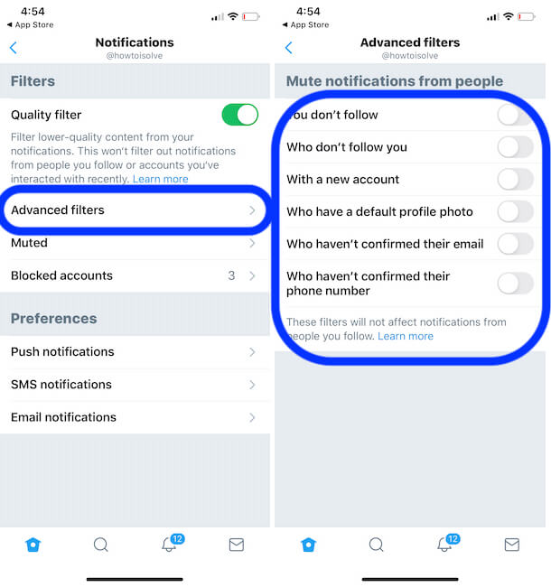 Advanced Twitter settings app on iPhone app