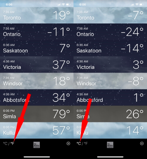 Change Celcius to Fahrenheit in iPhone Weather App
