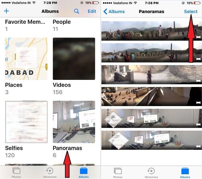 Panoramas album in iOS 10 iPhone, iPad
