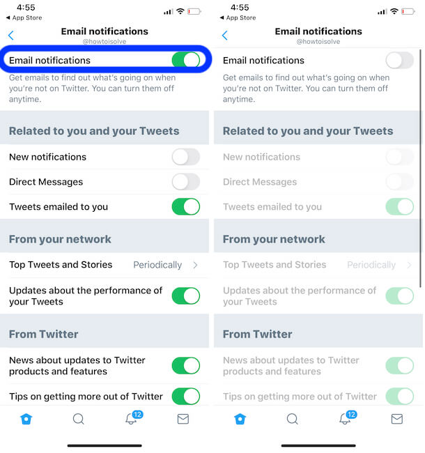 Email Notification settings on iPhone twitter app