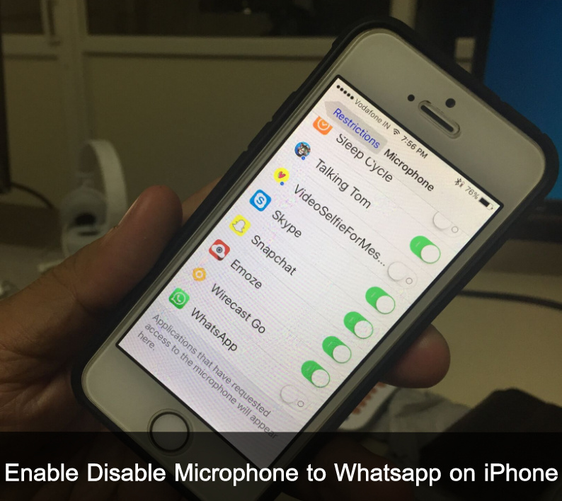 how to Enable Disable Microphone to Whatsapp on iPhone ios 10