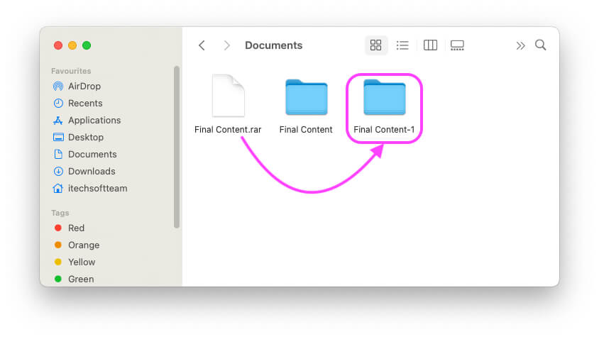 Extracted Folder on Mac