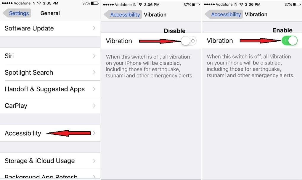 Verify Vibration is ON for a full iPhone ios 10