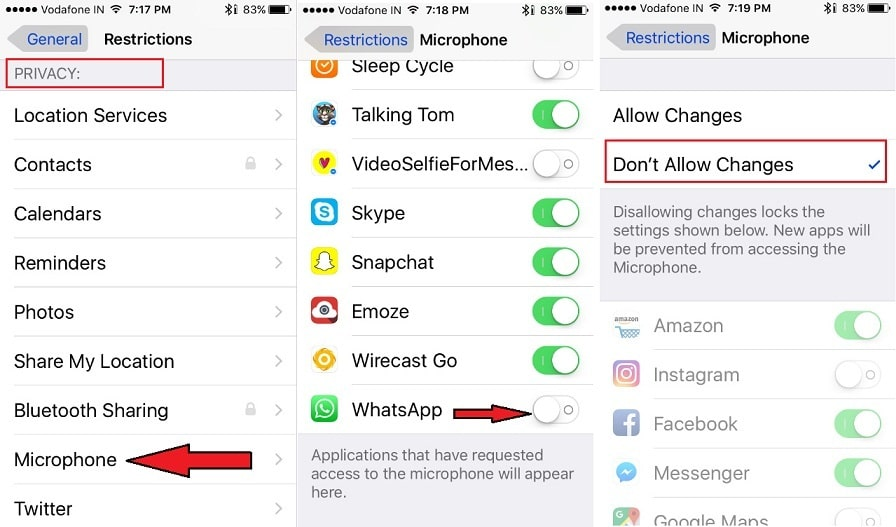 how to Microphone Restriction to Whatsapp on iPhone
