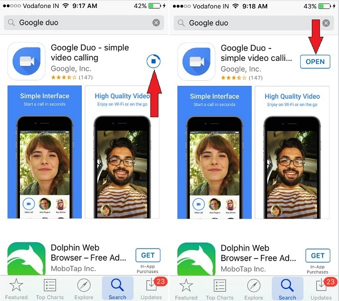 iOS Google Duo video calling App iPhone