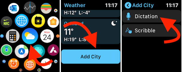 Open Weather App on Apple Watch and New City