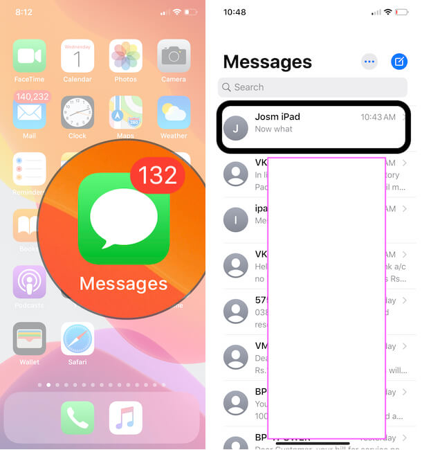 Open iMessage Conversation on iPhone or iPad from Messages app