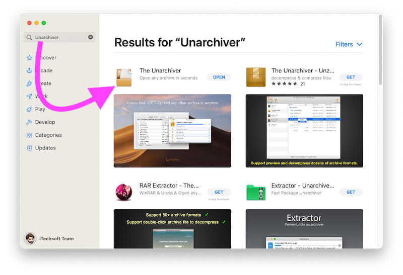Open the Unarchiver on Mac and MacBook