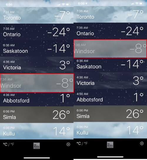 Rearrange Cities in Weather App iPhone