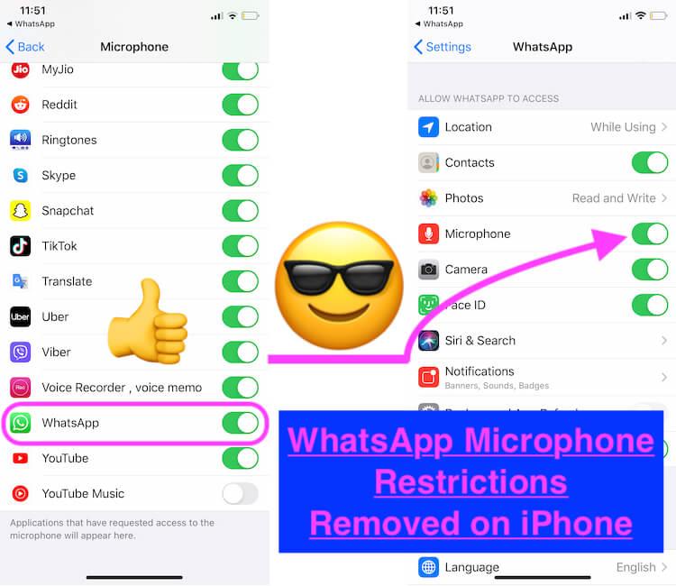 Включение / выключение ограничений микрофона в настройках iPhone