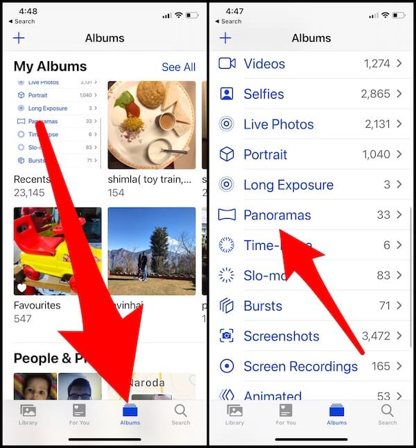 Where is panorama album on iPhone iPad photos app