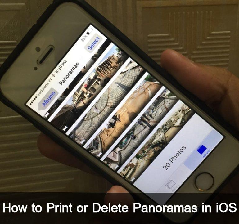Print or Delete Panoramas in iOS 10 iPhone, iPad