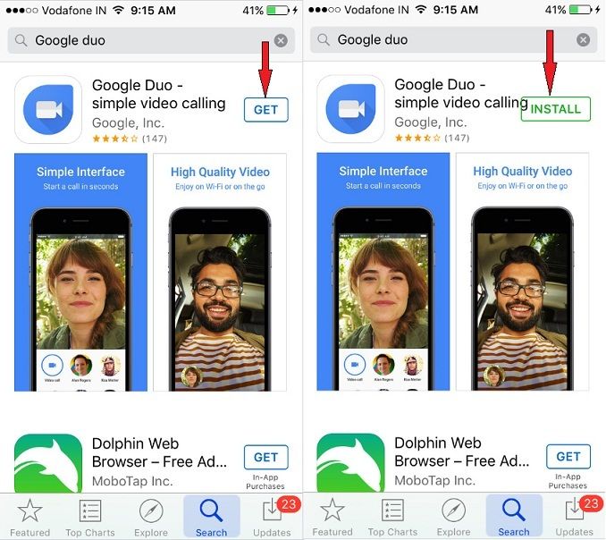install Google Duo App on iPhone