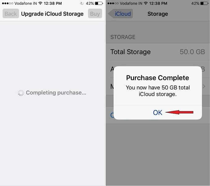 Expand  iCloud Storage on iPhone IOS 10