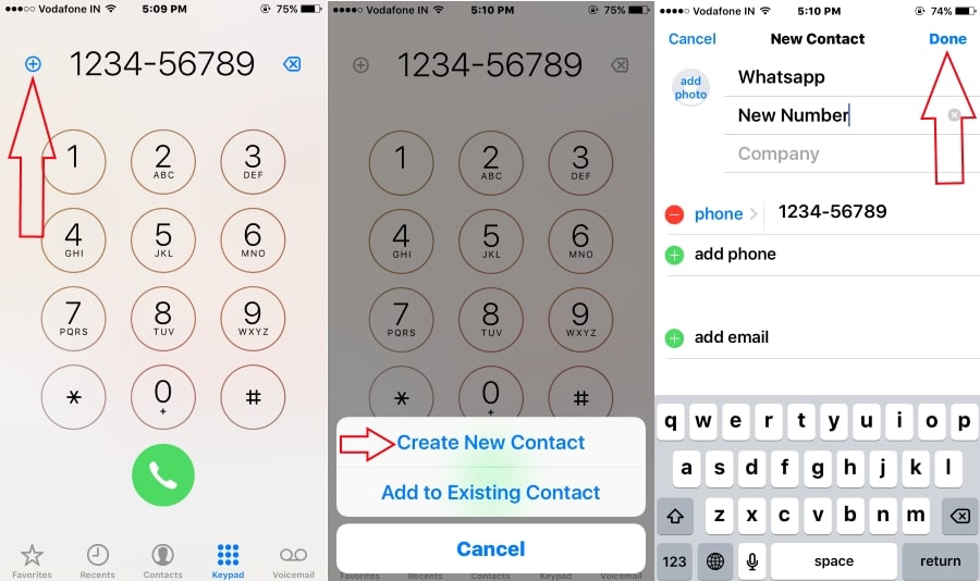 Add new contact in Phone app then Send WhatsApp message from iPhone, iPad