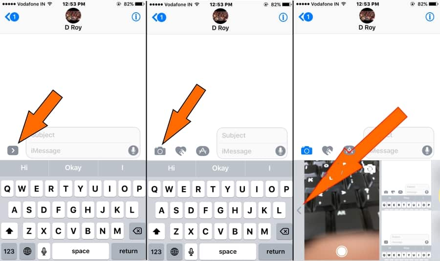 1 Choose Camera Album from iMessage for Send Video