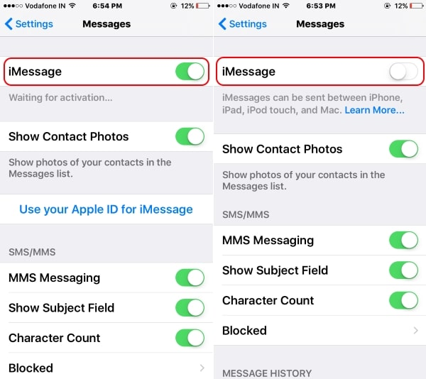 Disable or Enable iMessage on iPhone 7 or 7 Plus
