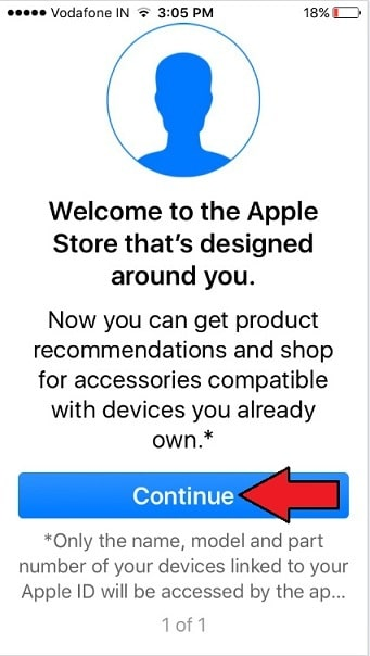 Apple Store App welcome screen