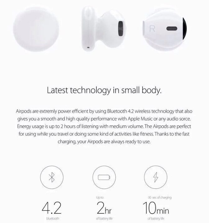 Specification of Wireless Bluetooth Airpods