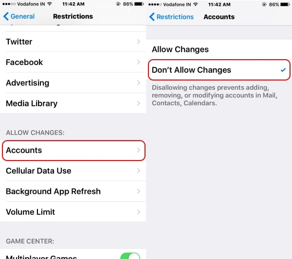 Enable Restriction on iMessage account