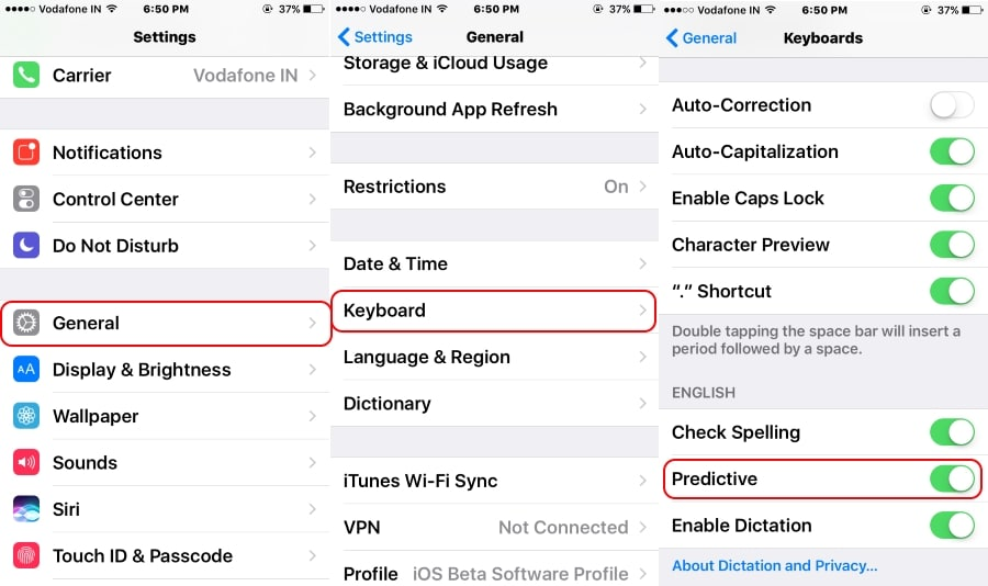 How to turn off autotext on iphone ios 10 14