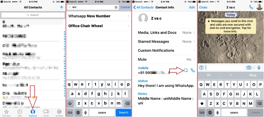 Start Text with new whatsApp number on iPhone and iPad