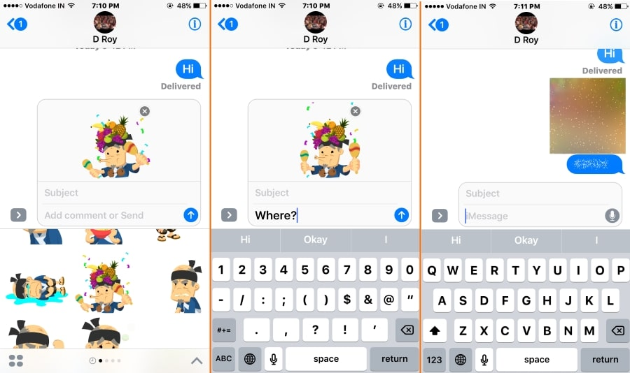 2 invisible effect with GIF image on iOS 10 iMessage app
