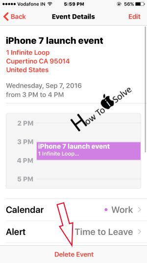 Delete Event from iPhone Calender app