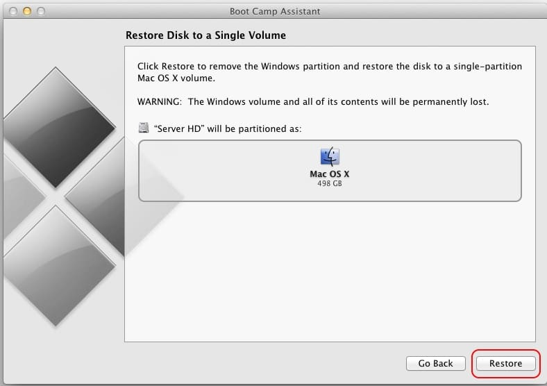 Restore windows partition in single volume